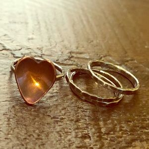 Jewelry - Copper heart and sterling silver stack ring set